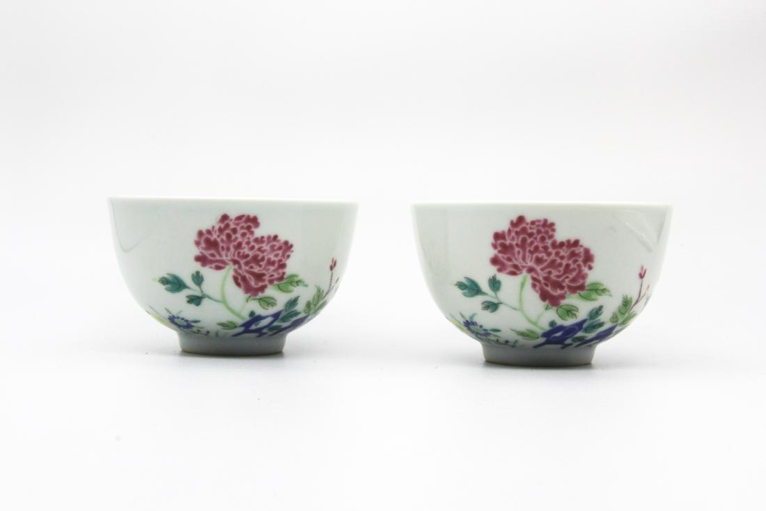 Pair Yongzheng Marked Famille Rose Bowls