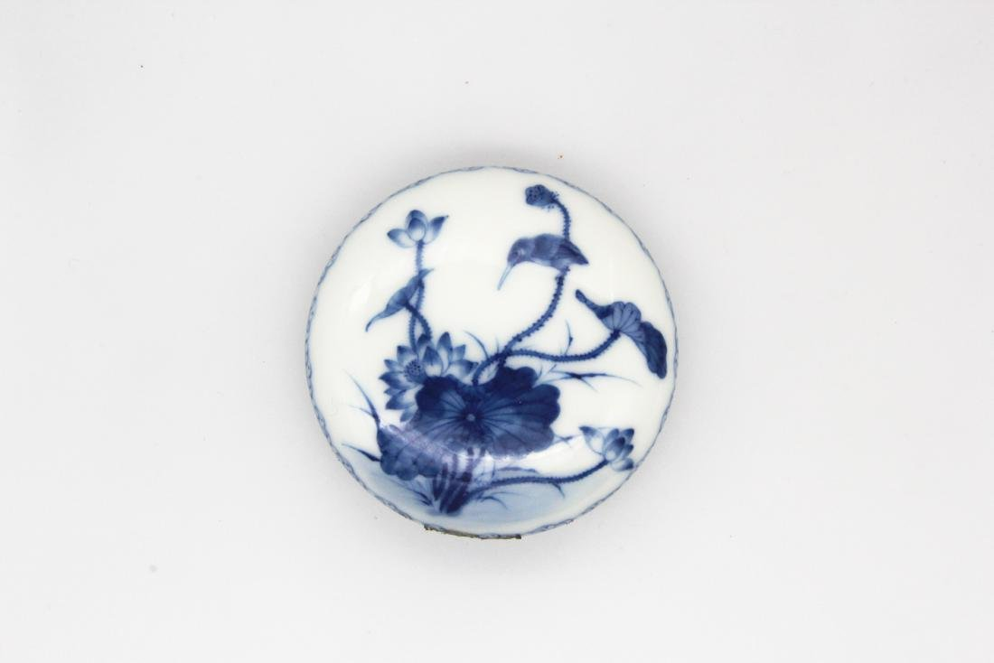 Qianlong Marked 'Lotus And Bird' Seal Paste Box