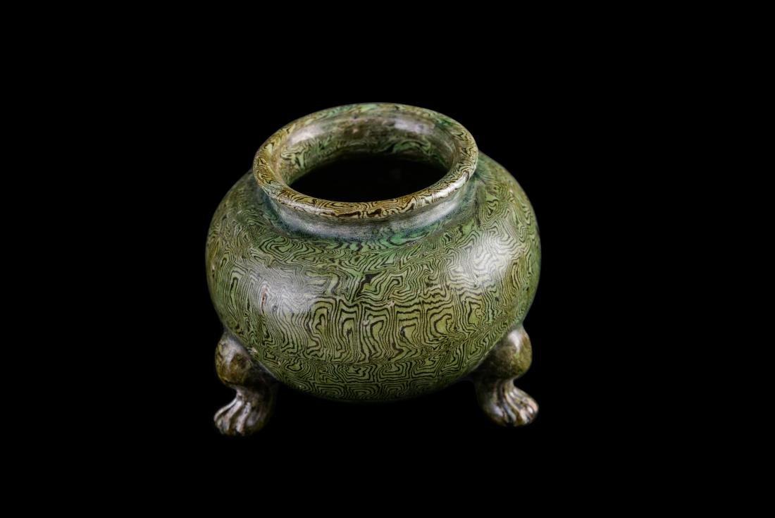 Ming Marbled Porcelain Tripod Censer - 2