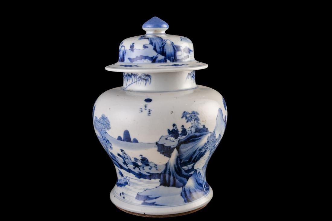 Guangxu Imitate Kangxi Blue And White Jar - 4