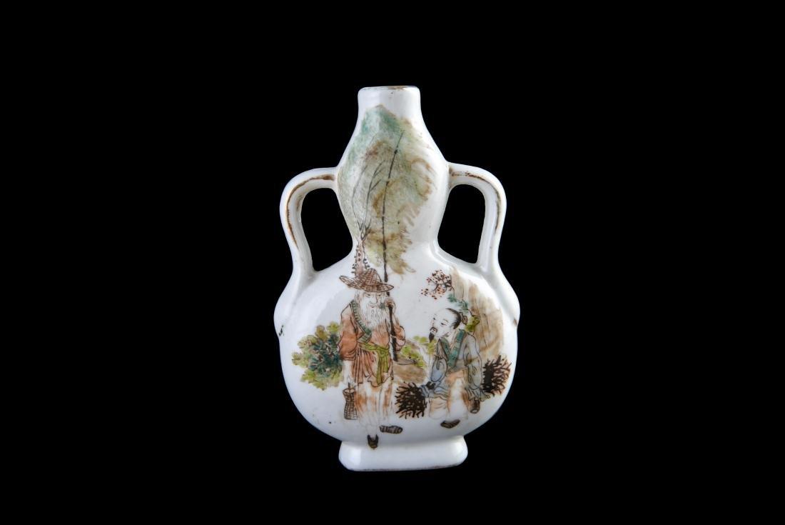 Republic Qianjiangcai 'Figure' Gourd-Shaped Vase