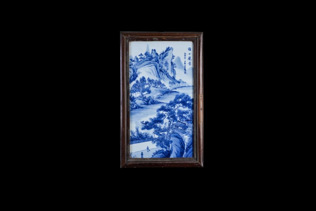 4 Republic Wang Bu Blue And White 'Landscape' Screens - 4