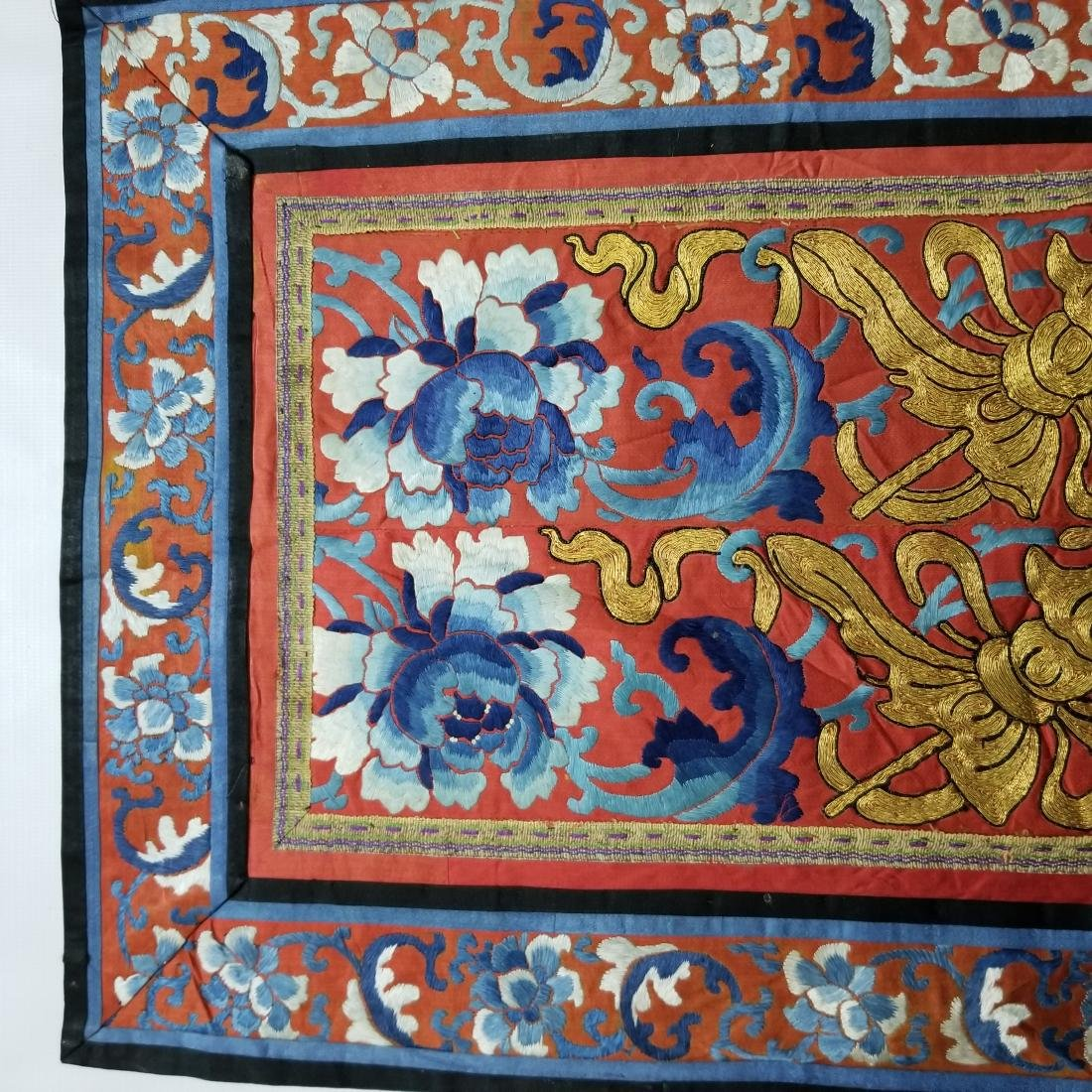 Antique Chinese Silk Embroidered Panel with Gold Thread - 2