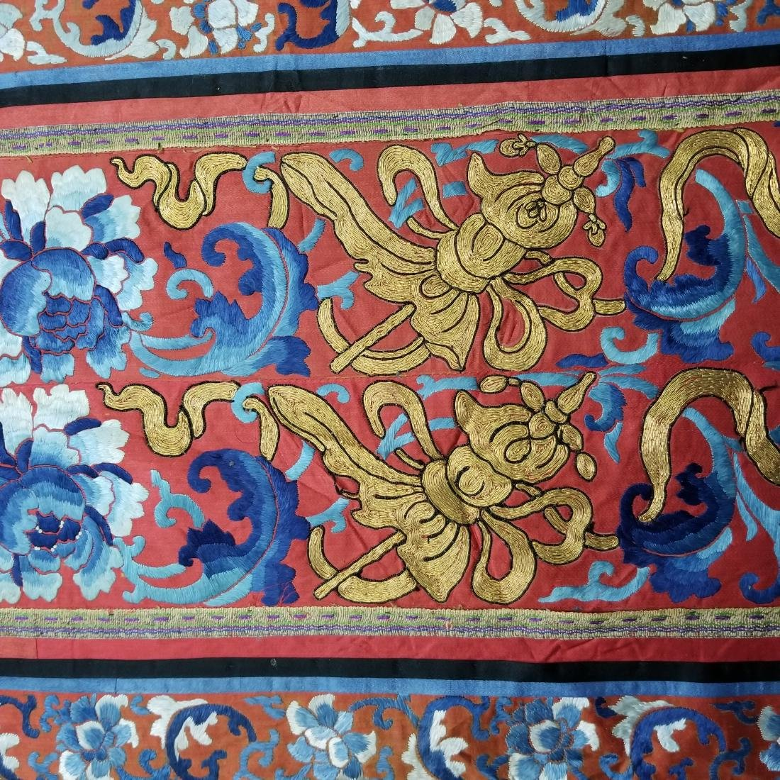Antique Chinese Silk Embroidered Panel with Gold Thread - 3