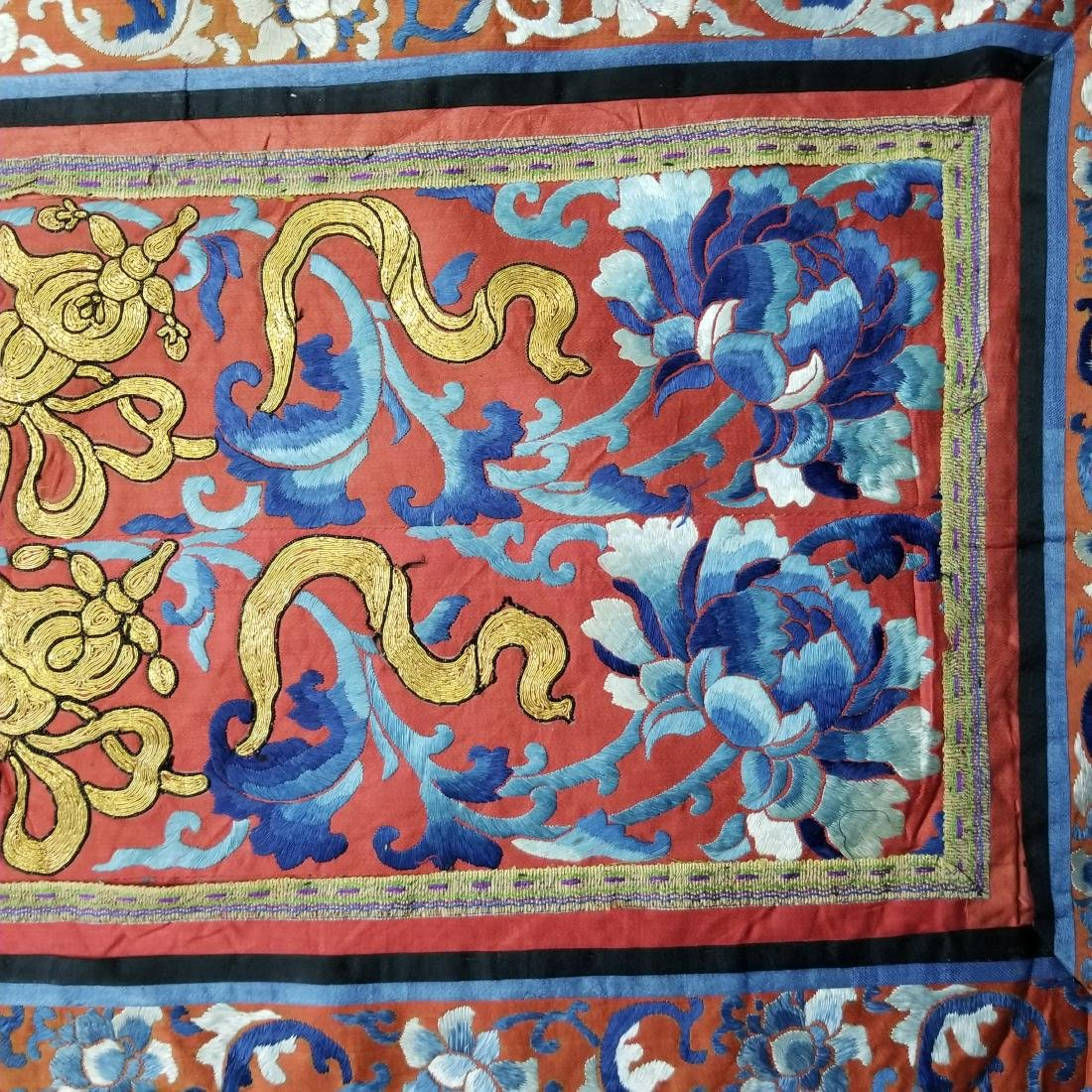 Antique Chinese Silk Embroidered Panel with Gold Thread - 4