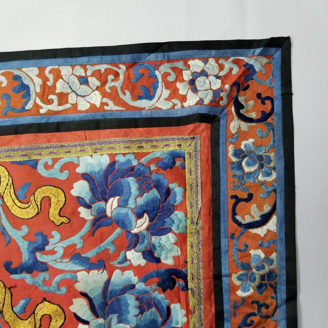 Antique Chinese Silk Embroidered Panel with Gold Thread - 5