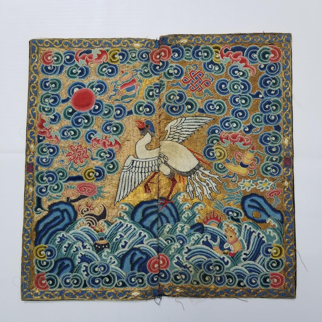 Antique Chinese Silk Embroidered Rank Badge with Gold