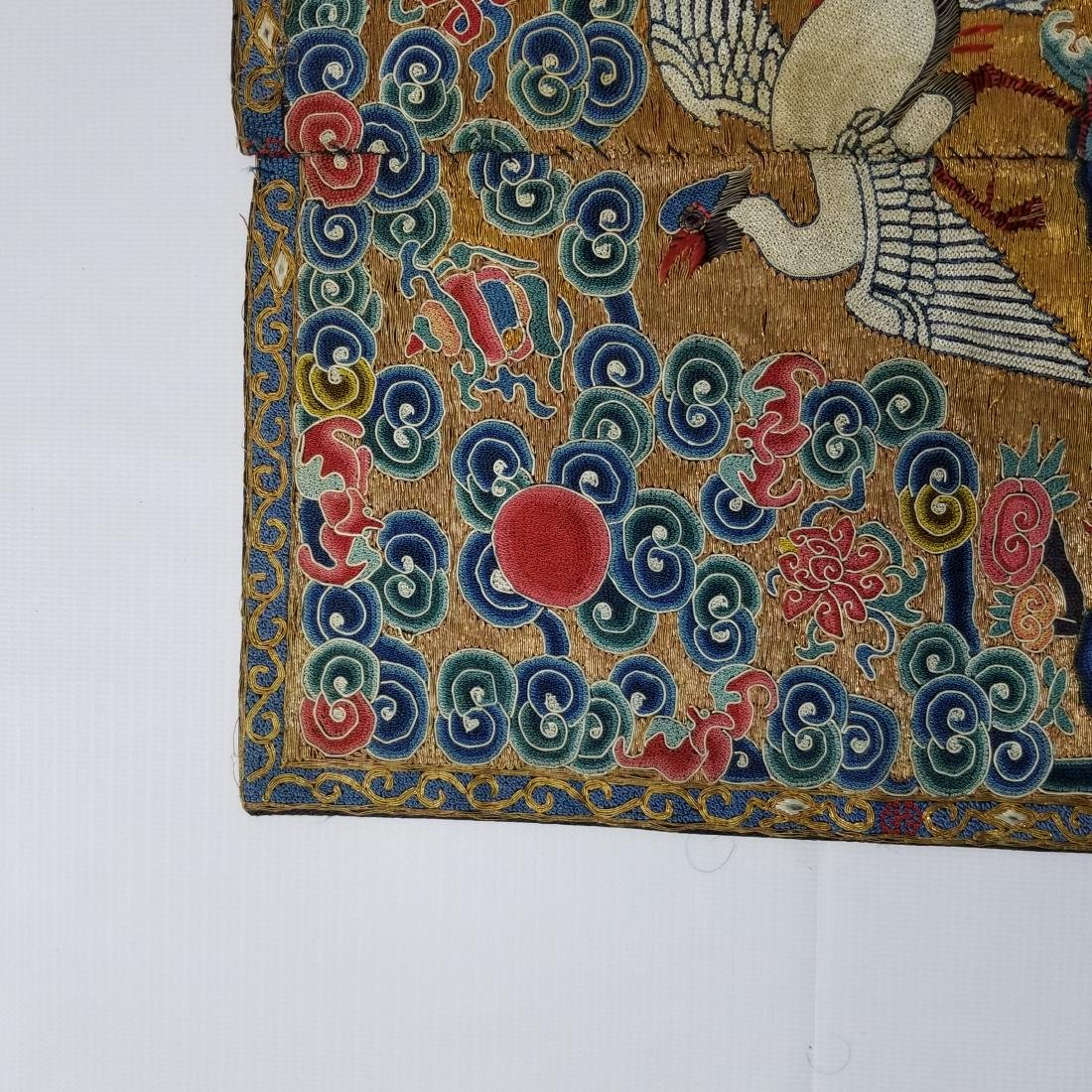 Antique Chinese Silk Embroidered Rank Badge with Gold - 2