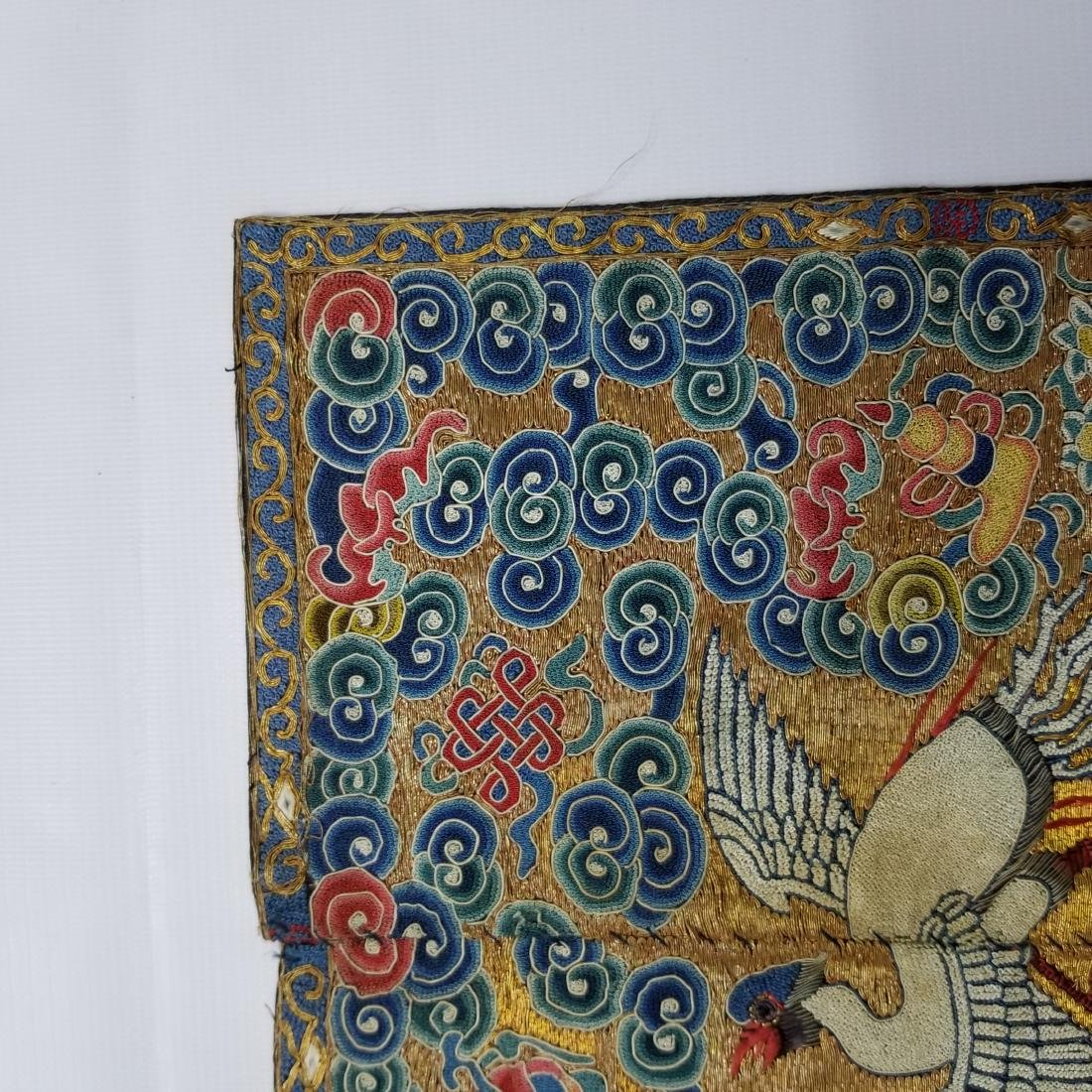 Antique Chinese Silk Embroidered Rank Badge with Gold - 5