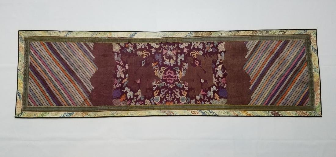 Antique Chinese Silk Hand Woven Dragons Brocade Panel