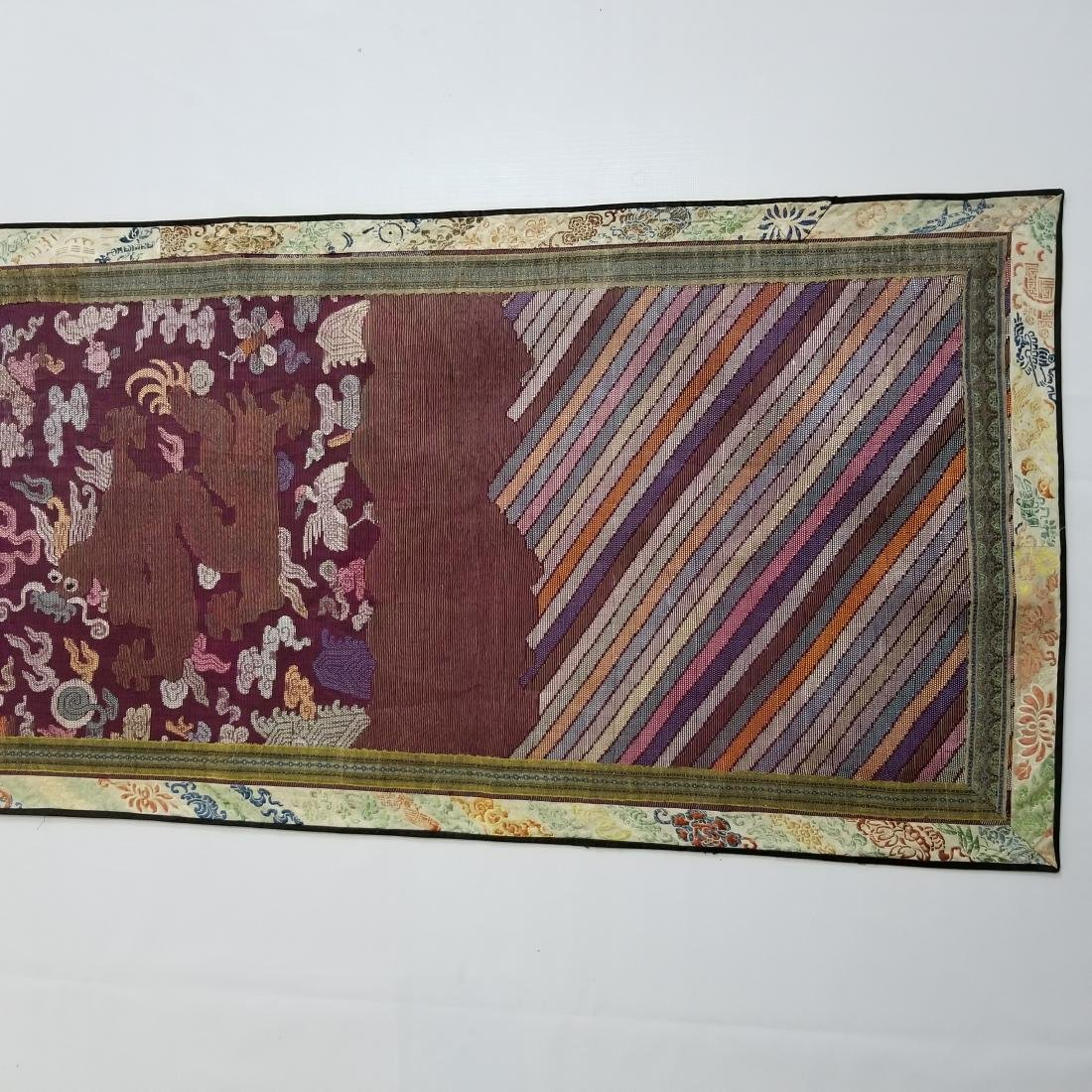 Antique Chinese Silk Hand Woven Dragons Brocade Panel - 5