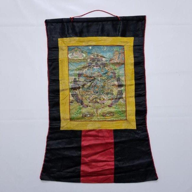 Antique Chinese Tibetan Thangka with Stamp