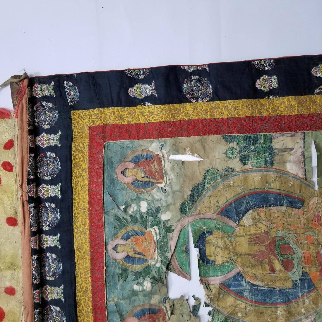 Antique Chinese Tibetan Thangka with Stamp - 3