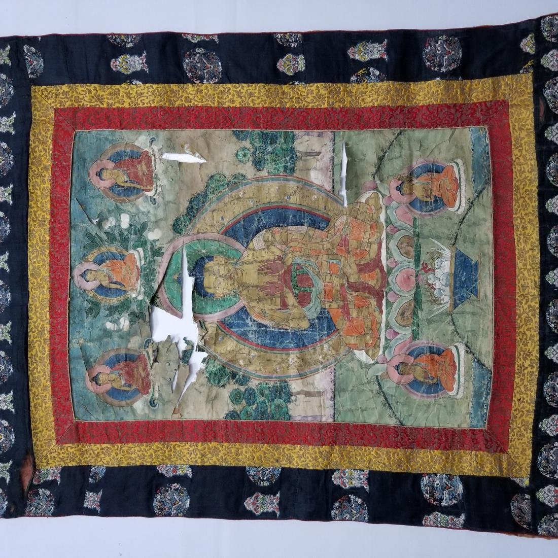 Antique Chinese Tibetan Thangka with Stamp - 6