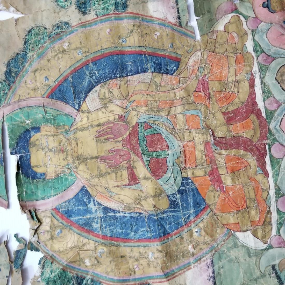 Antique Chinese Tibetan Thangka with Stamp - 7
