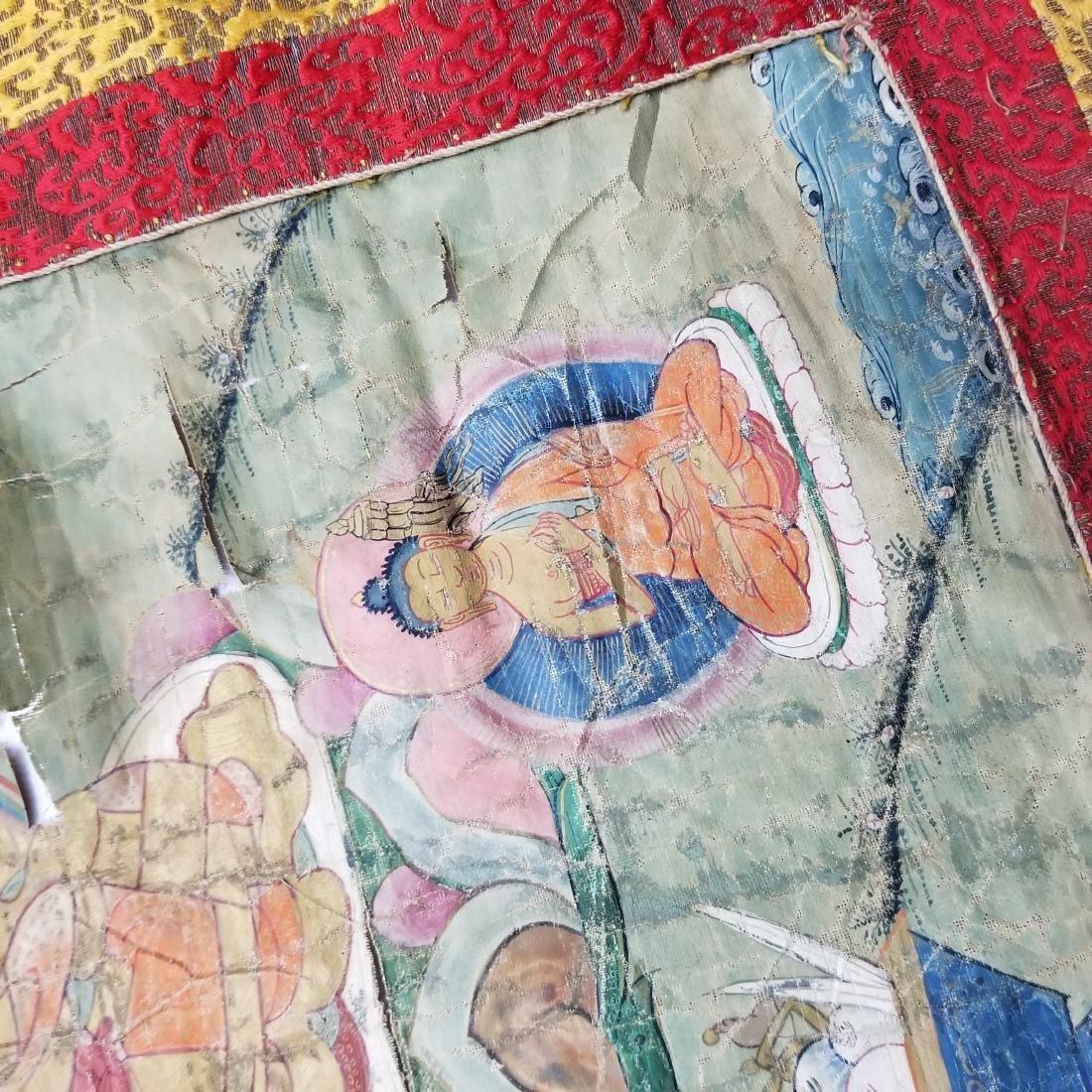 Antique Chinese Tibetan Thangka with Stamp - 9