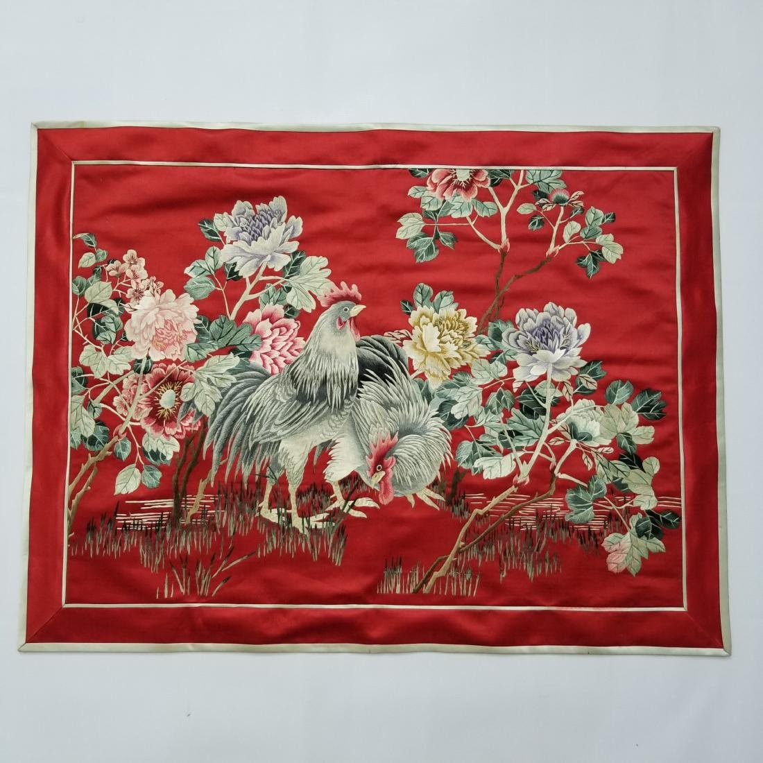 Antique Chinese Silk Hand Embroidered Panel Qing