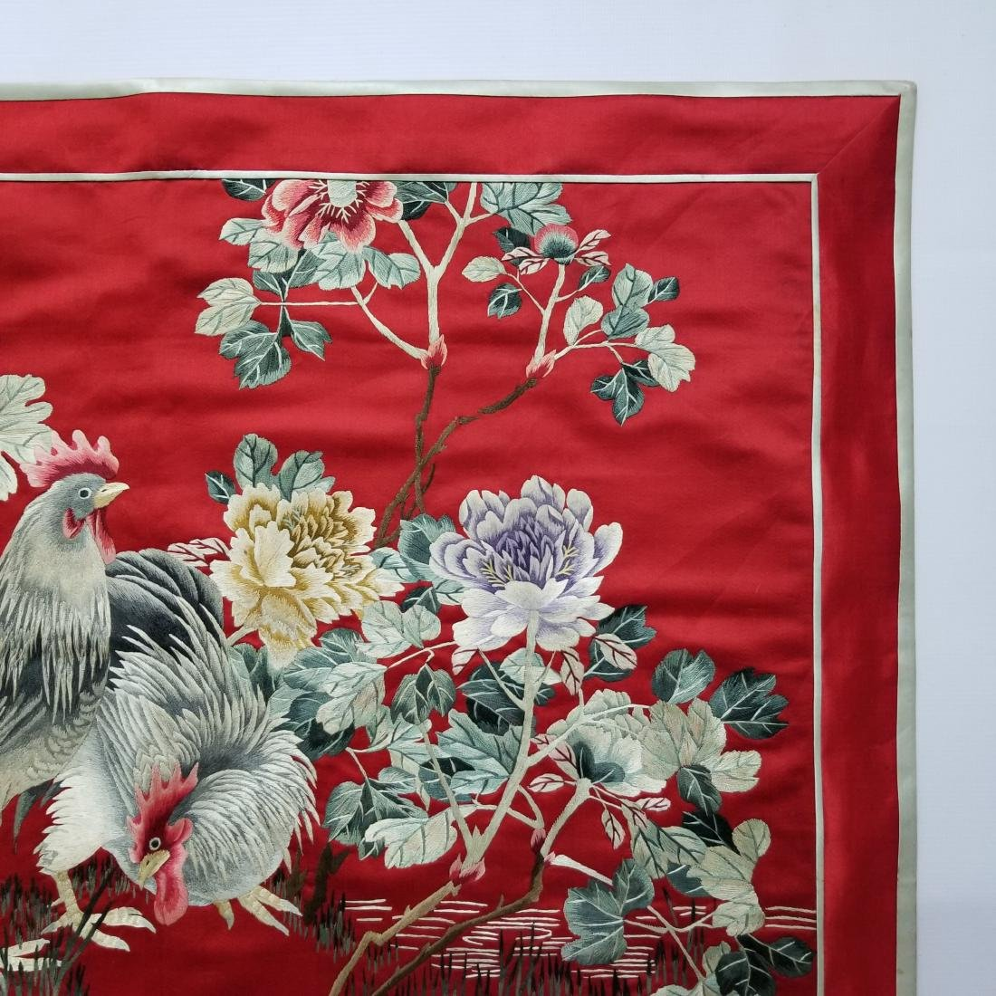 Antique Chinese Silk Hand Embroidered Panel Qing - 5