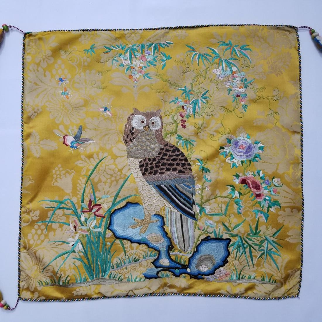 Antique Chinese Silk Hand Embroidered Panel Qing - 2