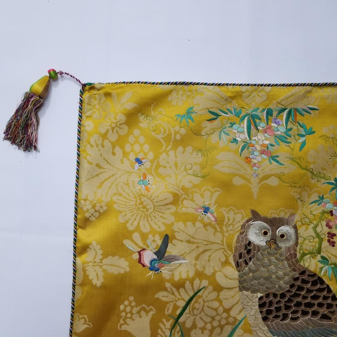 Antique Chinese Silk Hand Embroidered Panel Qing - 3
