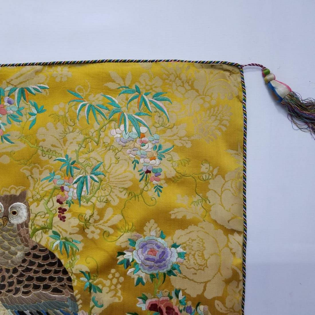 Antique Chinese Silk Hand Embroidered Panel Qing - 6