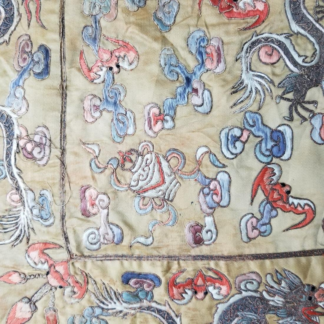 Antique Chinese Silk Hand Embroidered Dragon Panel - 10