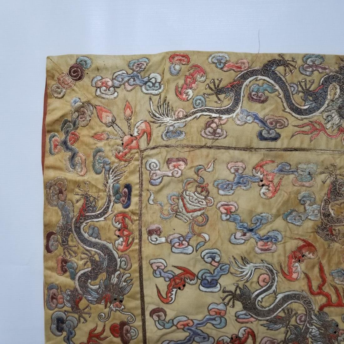 Antique Chinese Silk Hand Embroidered Dragon Panel - 2