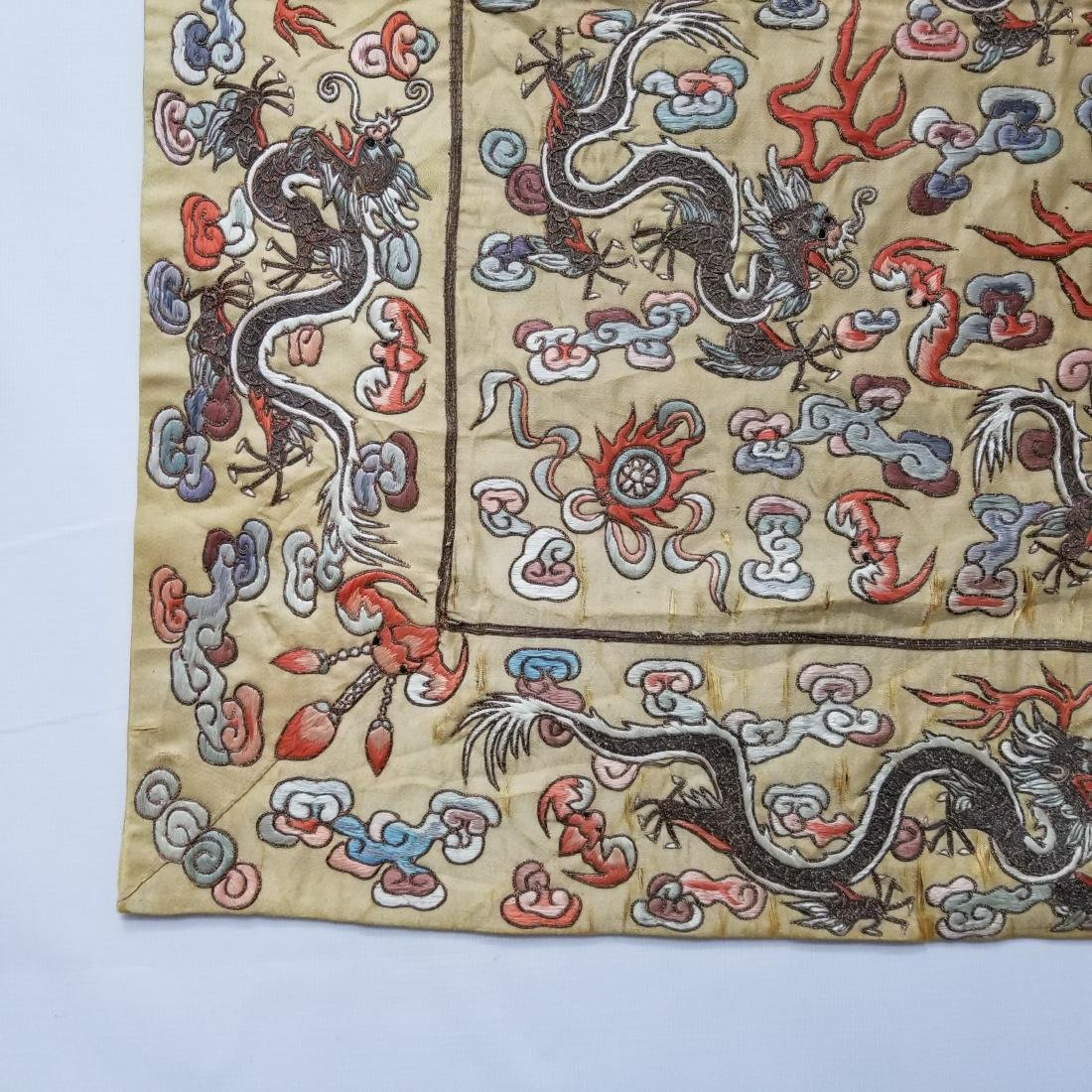 Antique Chinese Silk Hand Embroidered Dragon Panel - 3