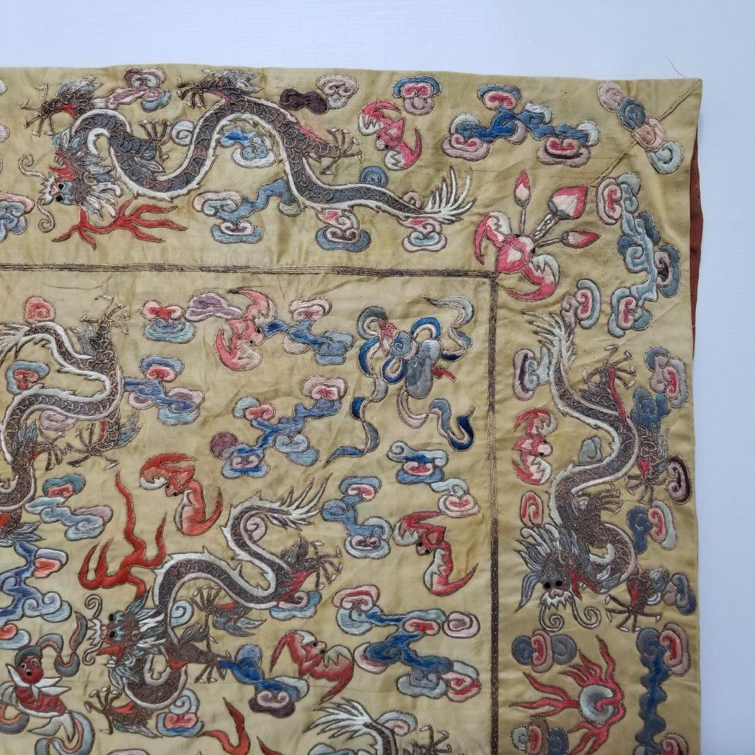 Antique Chinese Silk Hand Embroidered Dragon Panel - 4