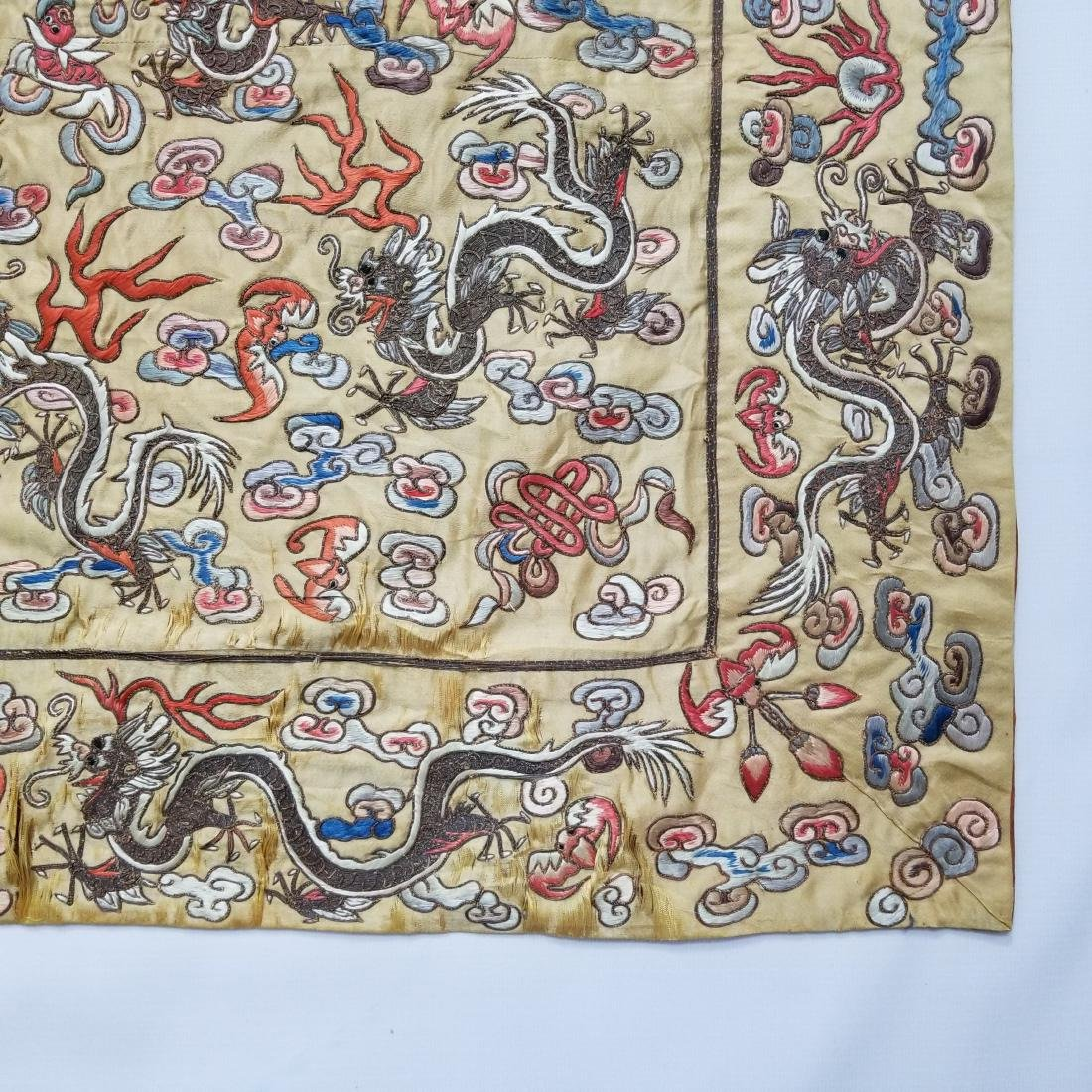 Antique Chinese Silk Hand Embroidered Dragon Panel - 5