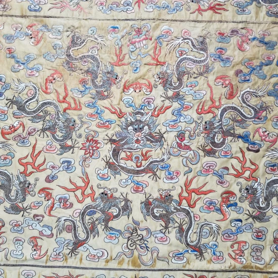 Antique Chinese Silk Hand Embroidered Dragon Panel - 6