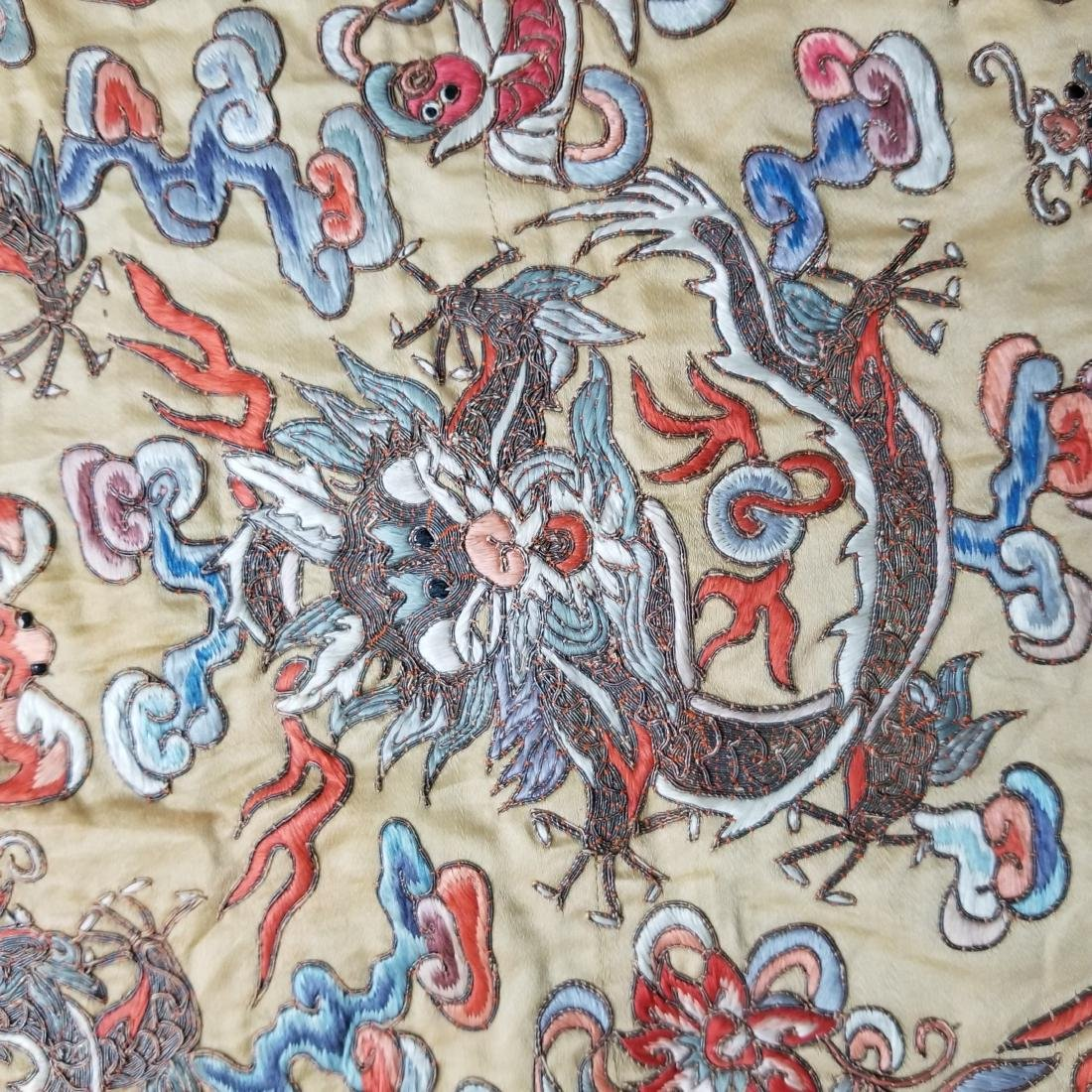 Antique Chinese Silk Hand Embroidered Dragon Panel - 7