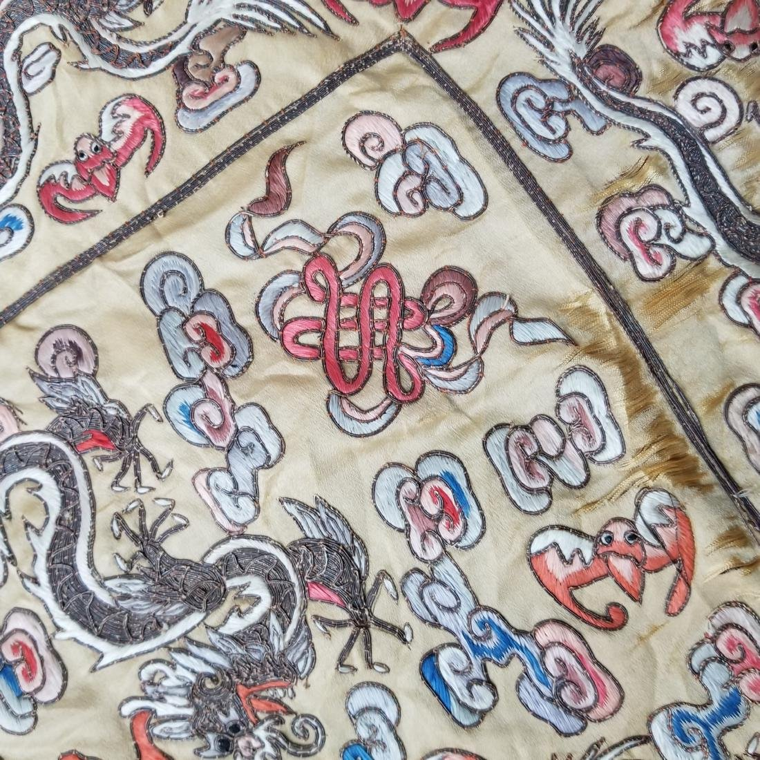 Antique Chinese Silk Hand Embroidered Dragon Panel - 9