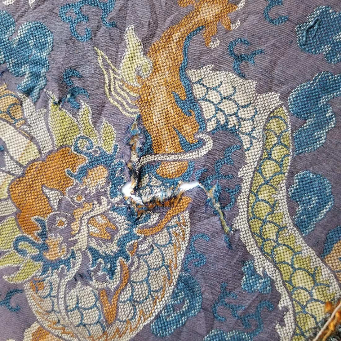 Antique Chinese Silk Brocade Dragon Panel - 10
