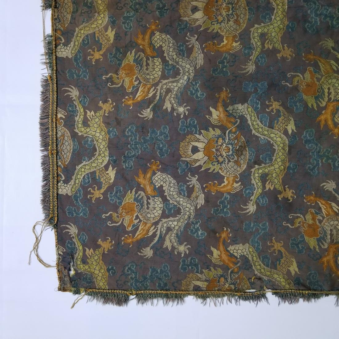 Antique Chinese Silk Brocade Dragon Panel - 3