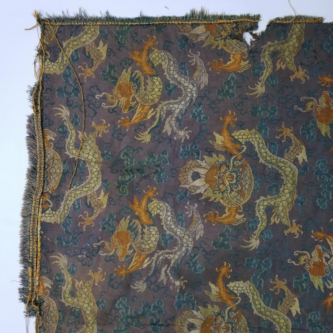Antique Chinese Silk Brocade Dragon Panel - 4
