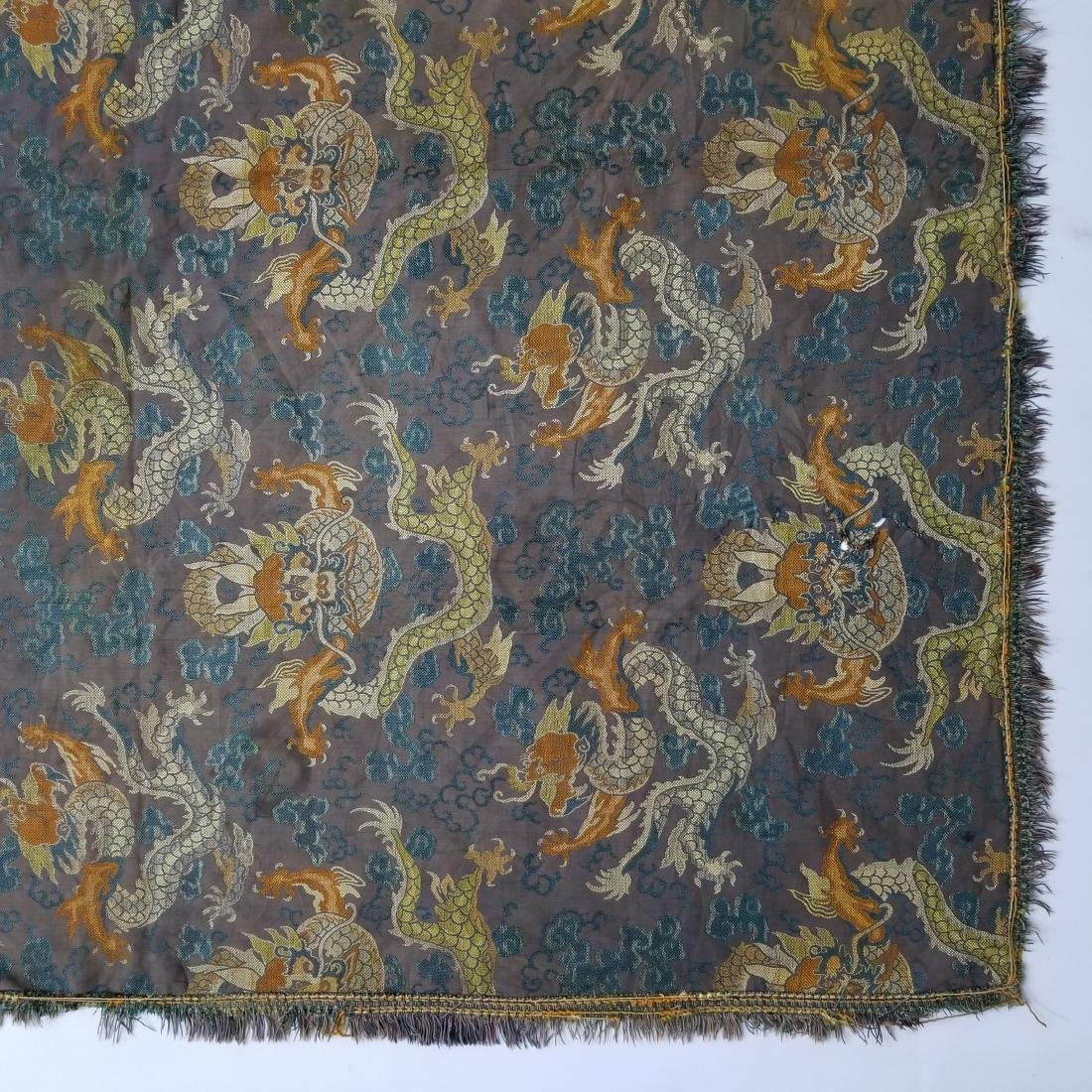 Antique Chinese Silk Brocade Dragon Panel - 5
