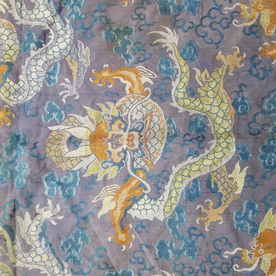 Antique Chinese Silk Brocade Dragon Panel - 7