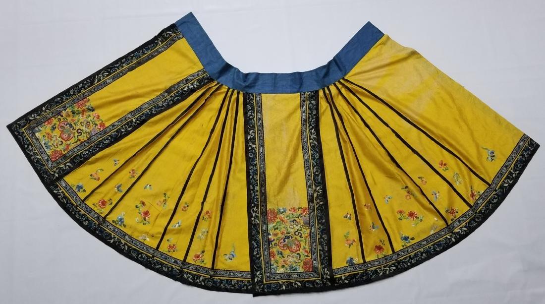 Antique Chinese Silk Hand Embroidered Skirt Forbidden