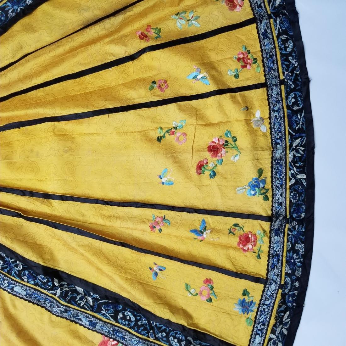 Antique Chinese Silk Hand Embroidered Skirt Forbidden - 3