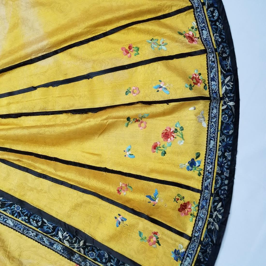 Antique Chinese Silk Hand Embroidered Skirt Forbidden - 5