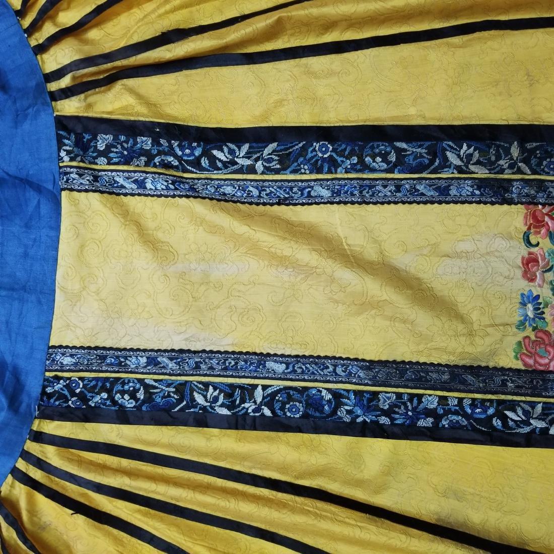 Antique Chinese Silk Hand Embroidered Skirt Forbidden - 9