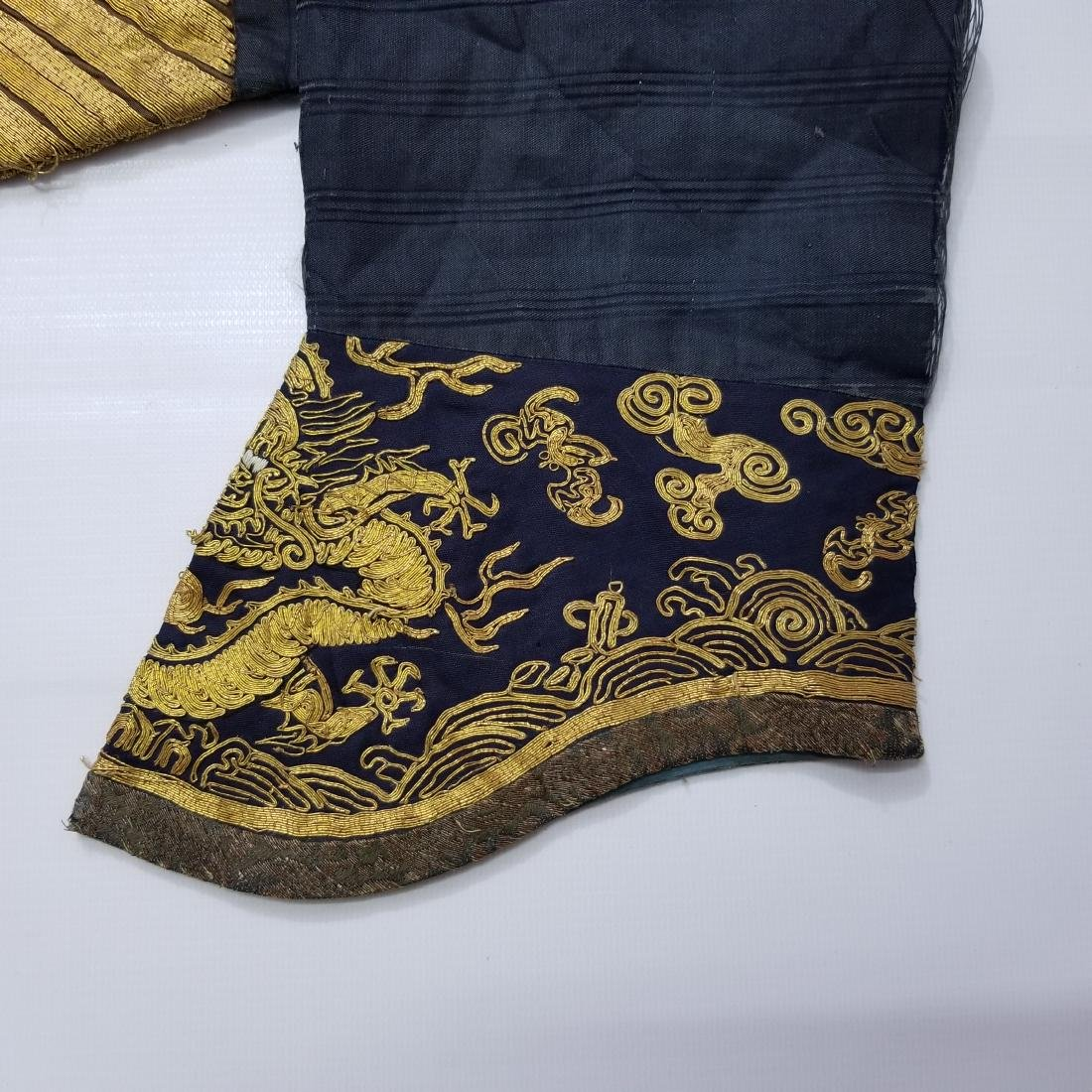 CHINESE GOLD SILK EMBROIDERY DRAGON IMPERIAL ROBE - 10