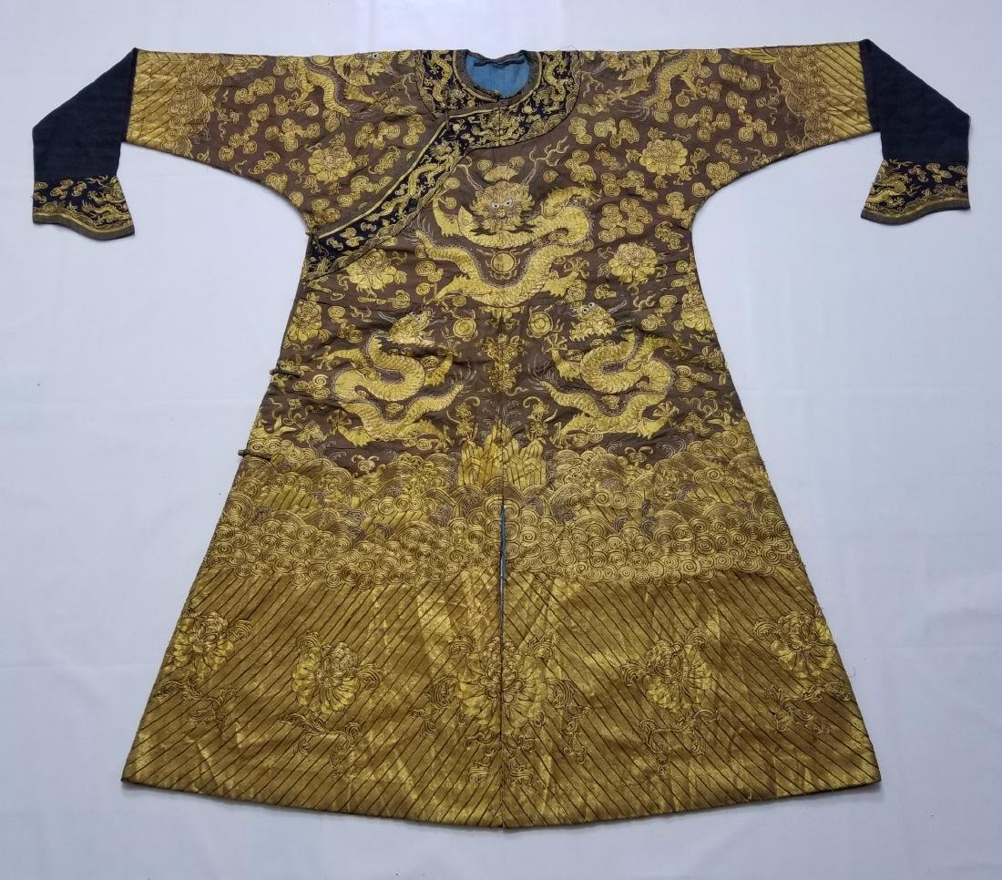 CHINESE GOLD SILK EMBROIDERY DRAGON IMPERIAL ROBE