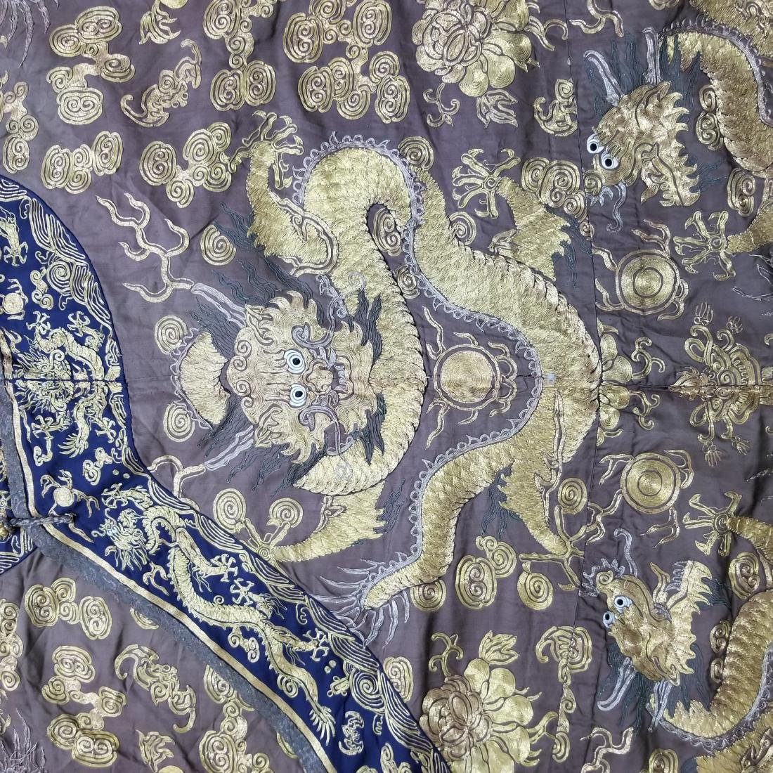 CHINESE GOLD SILK EMBROIDERY DRAGON IMPERIAL ROBE - 4
