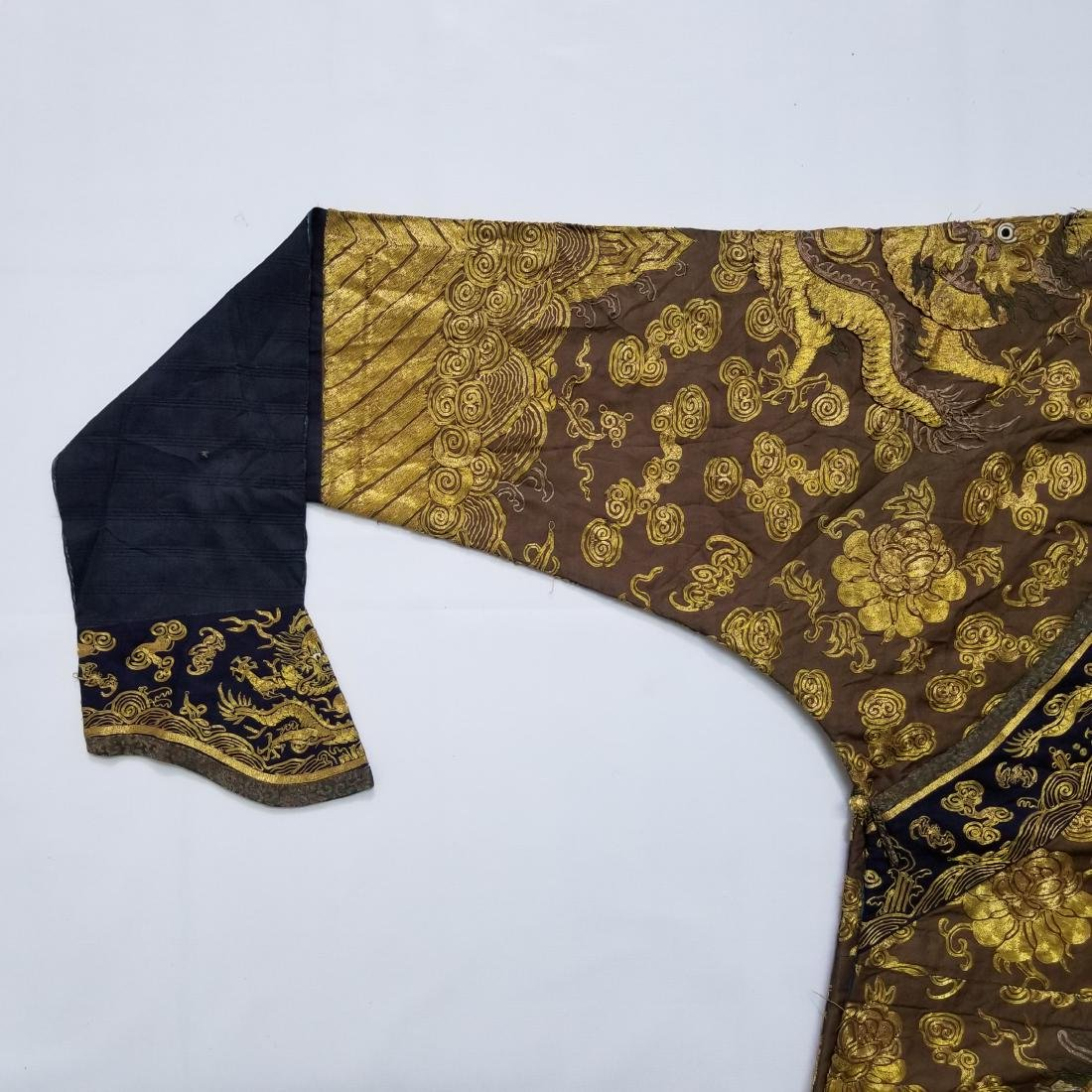 CHINESE GOLD SILK EMBROIDERY DRAGON IMPERIAL ROBE - 5