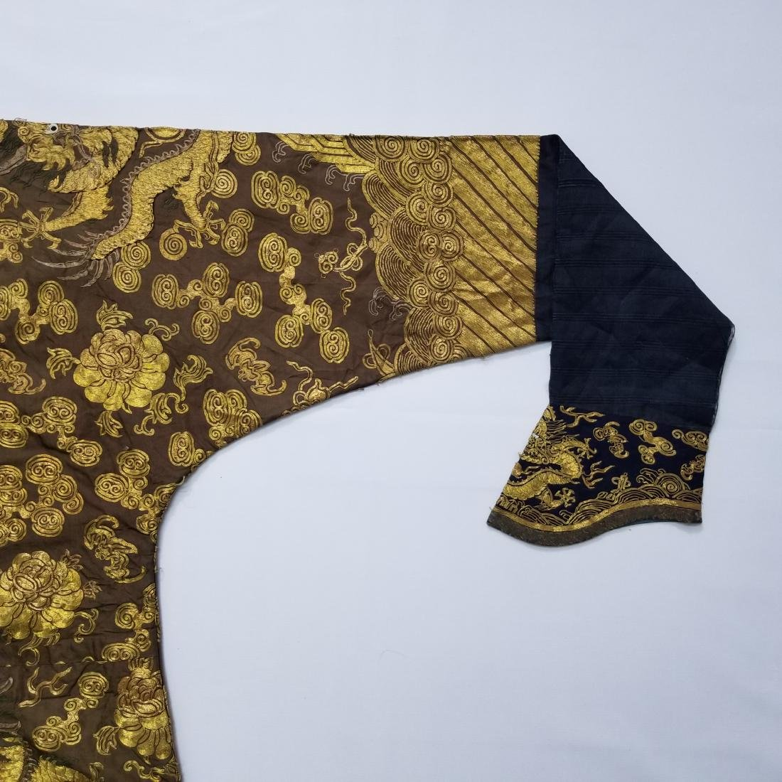 CHINESE GOLD SILK EMBROIDERY DRAGON IMPERIAL ROBE - 6