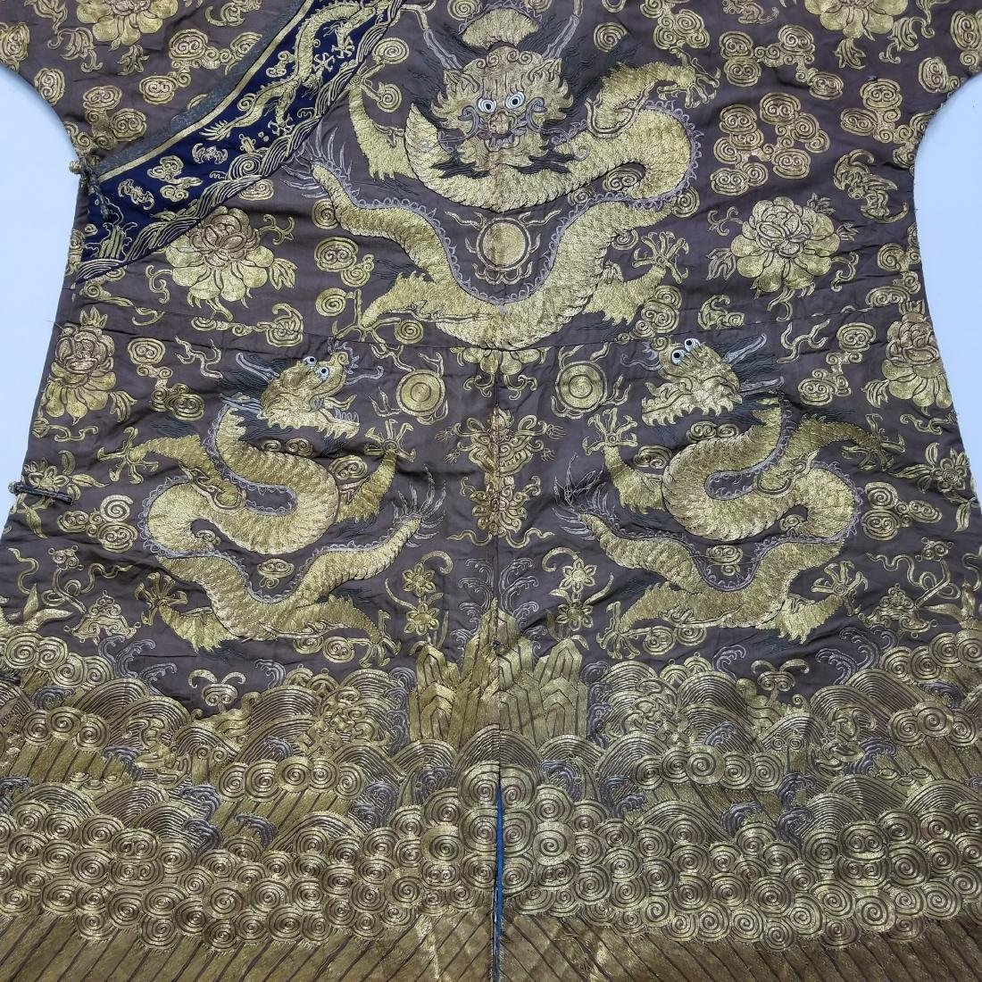 CHINESE GOLD SILK EMBROIDERY DRAGON IMPERIAL ROBE - 7