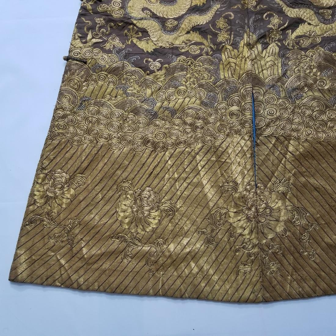 CHINESE GOLD SILK EMBROIDERY DRAGON IMPERIAL ROBE - 8