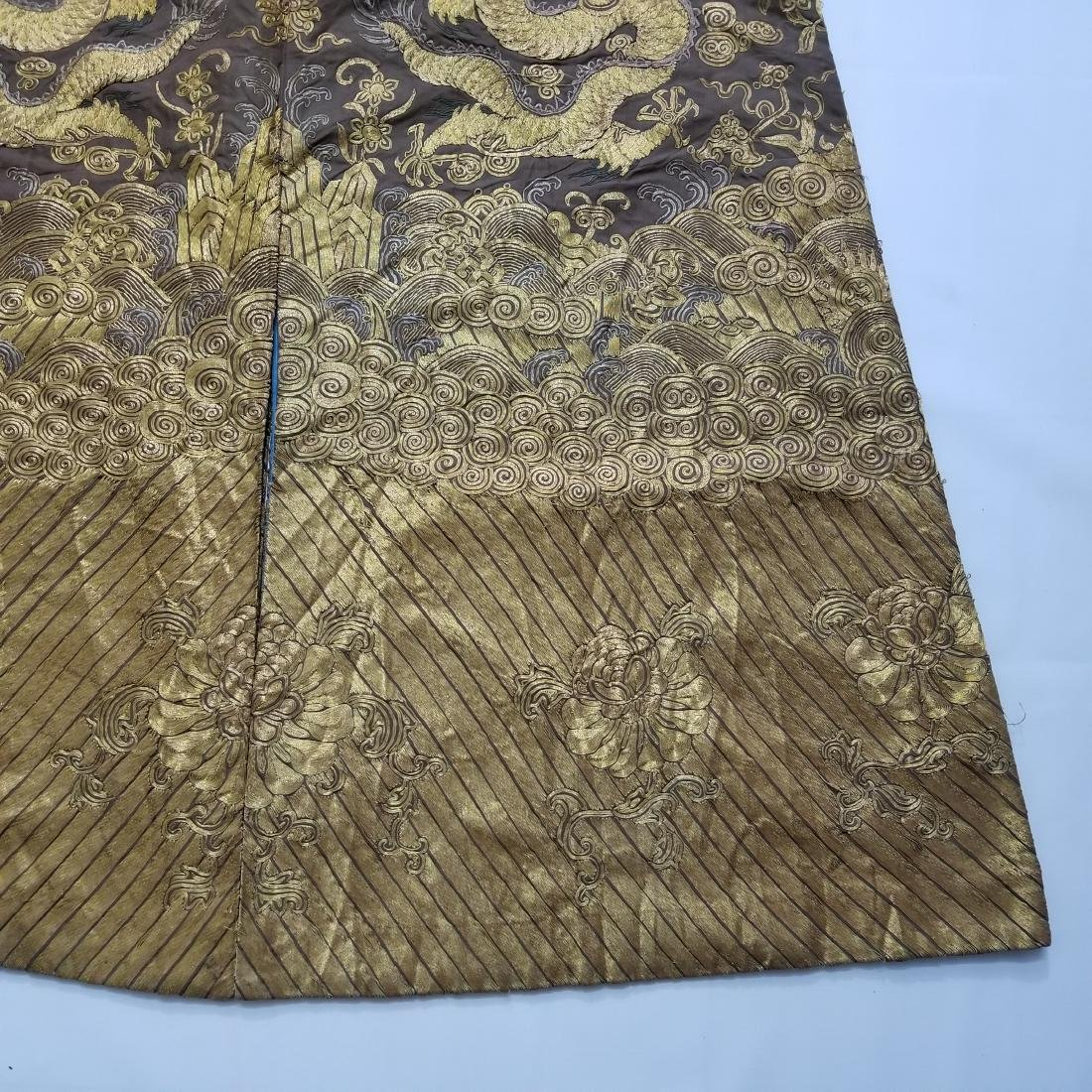 CHINESE GOLD SILK EMBROIDERY DRAGON IMPERIAL ROBE - 9